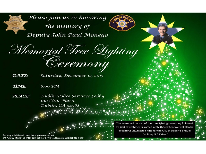 police services for the annual john monego tree lighting ceremony