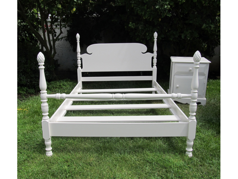 Antique Full Size Bed Frame With Bedside Table Aka