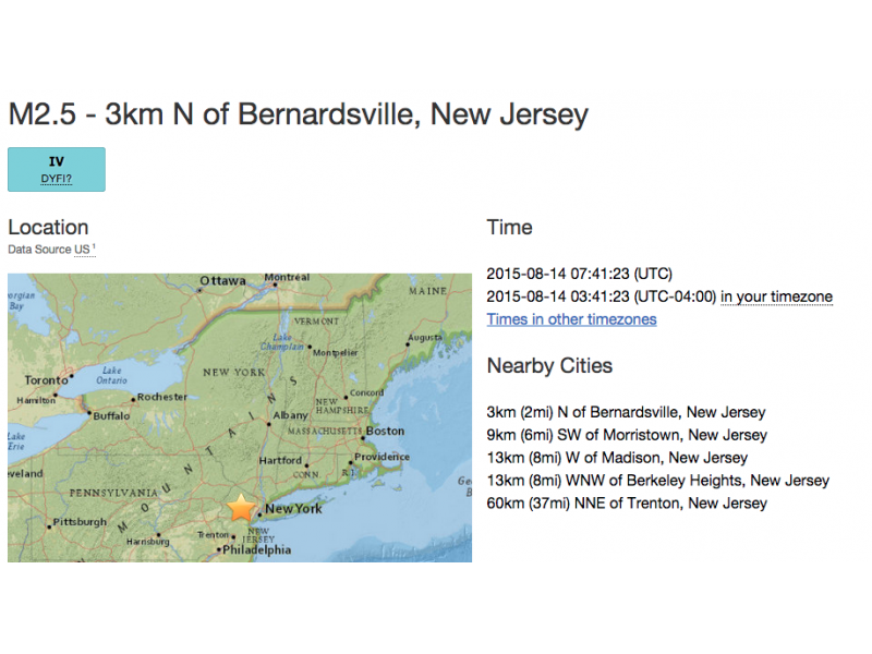 Small earthquake felt in Central Jersey