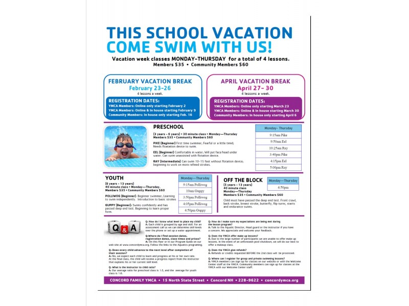 Ymca April Vacation Swim Lessons Offered Concord Nh Patch
