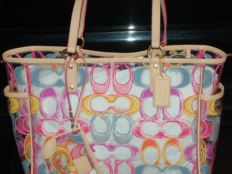 Coach Scribble Clear Large Beach Bag Tote W Matching