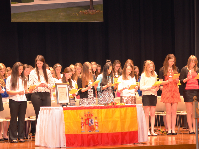 french and spanish national honor societies hold induction