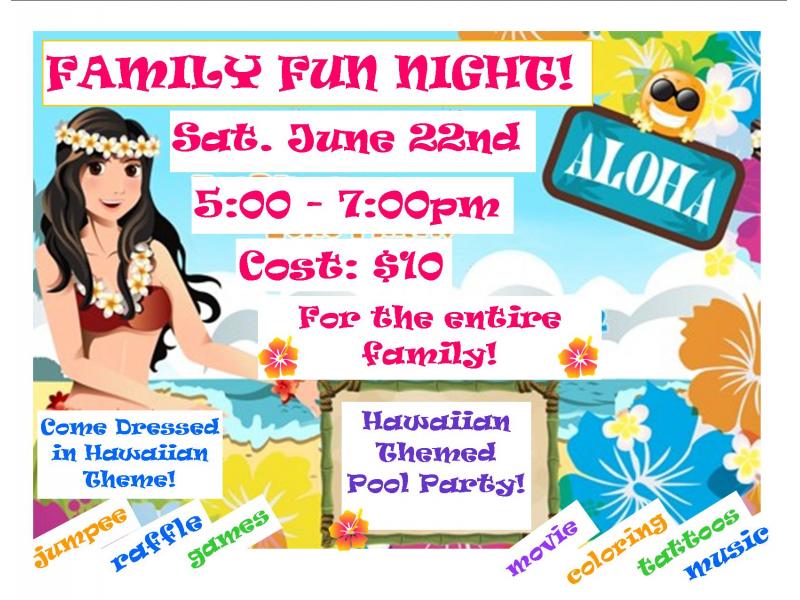 Family fun night hawaiian theme patch for A line salon corte madera