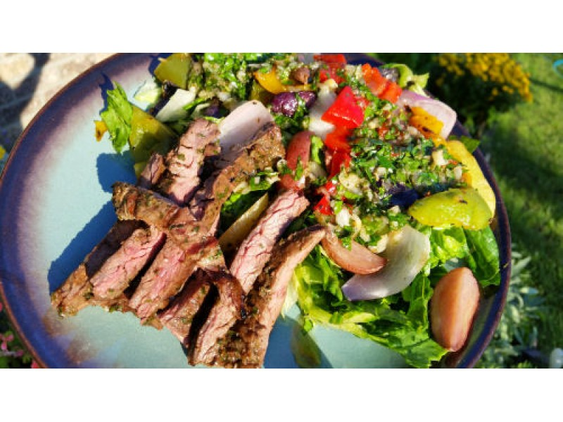 Peruvian Skirt Steak with Roasted Potatoes Peppers and Onions Recipe