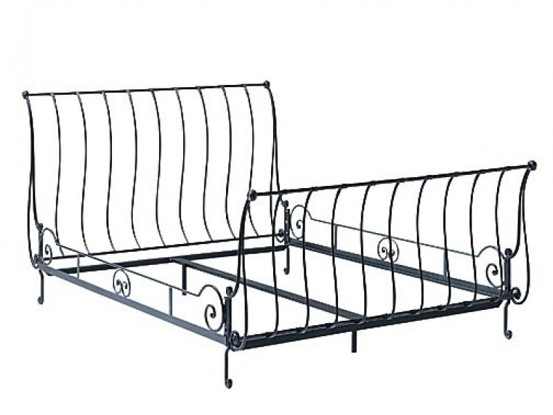 Metal Sleigh Bed King Iron Sleigh Bed King