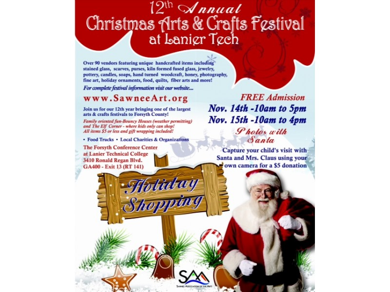 The 12th annual christmas arts crafts festival at lanier for Arts and crafts festivals in georgia