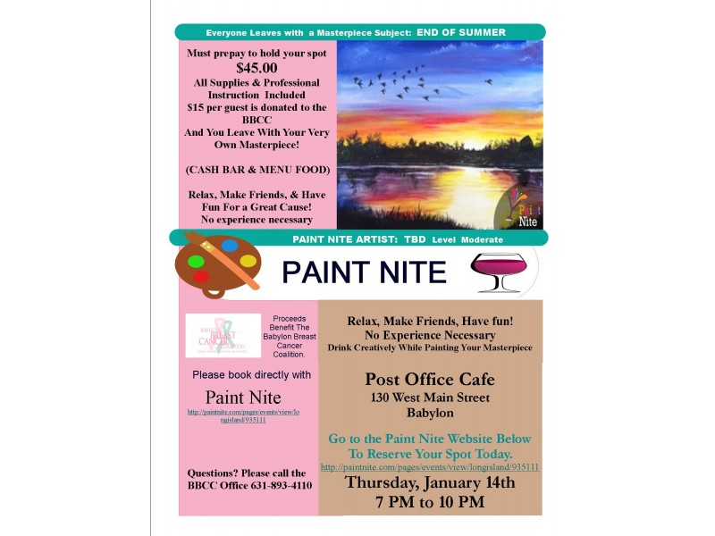 PAINT NITE Fundraiser Supporting The Babylon Breast Cancer