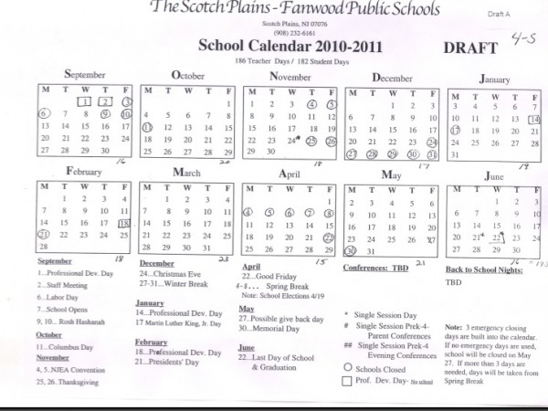 Next Year Calendar : Next year s school calendar in the works scotch plains