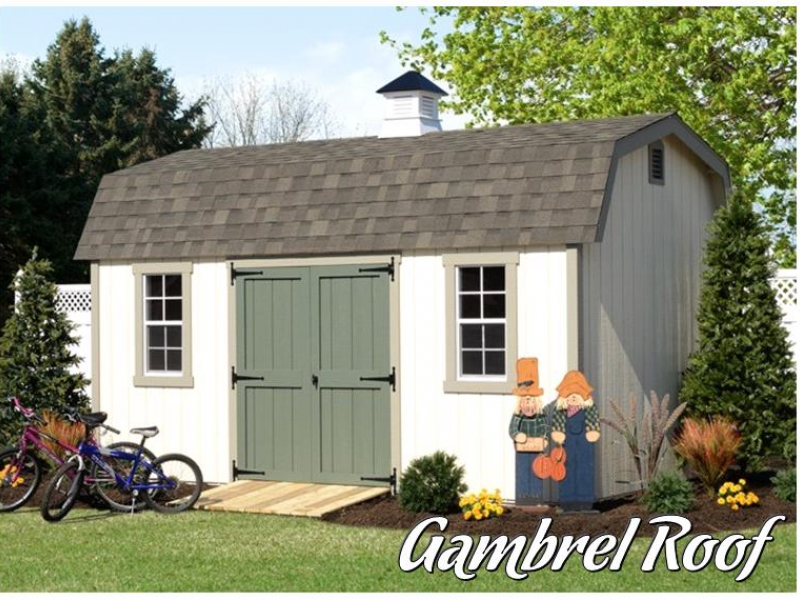 Selecting a shed roof for your storage shed gable vs for Gambrel barn prices