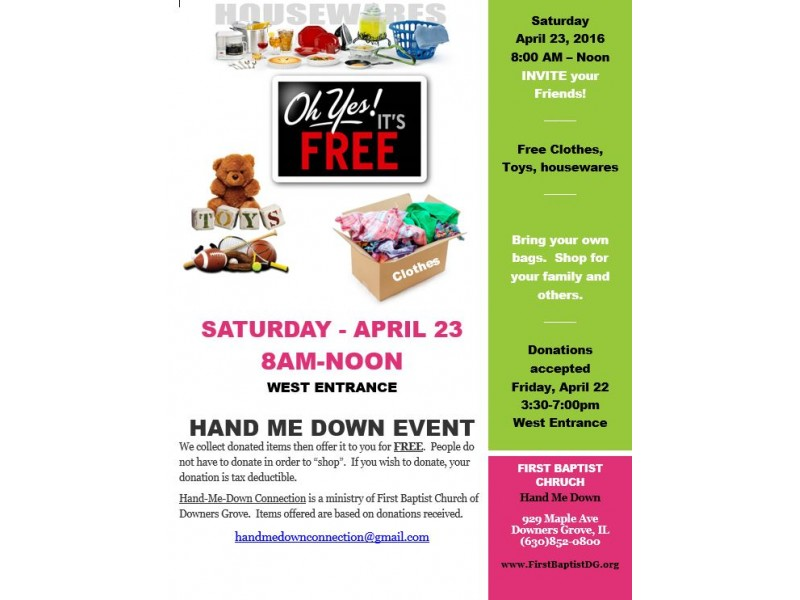 Free Garage Sale By Hand Me Down Ministry Saturday April
