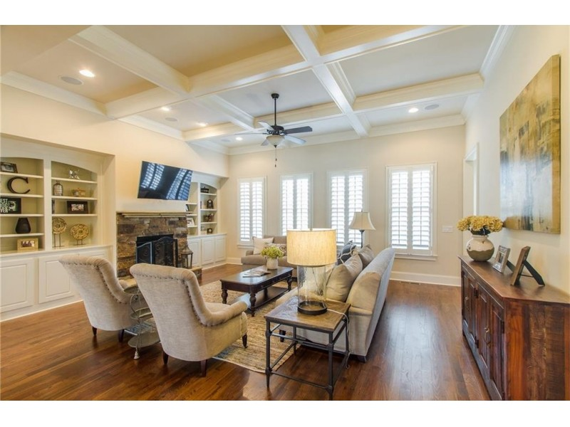 Coffered ceiling and stone fireplace vaulted keeping room with - Wow House Brick And Stone Traditional Has Spectacular