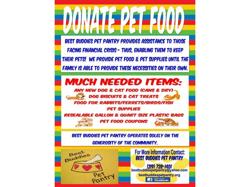 Best buddies pet pantry pet food drive frankfort il patch for Food pantry in chicago heights