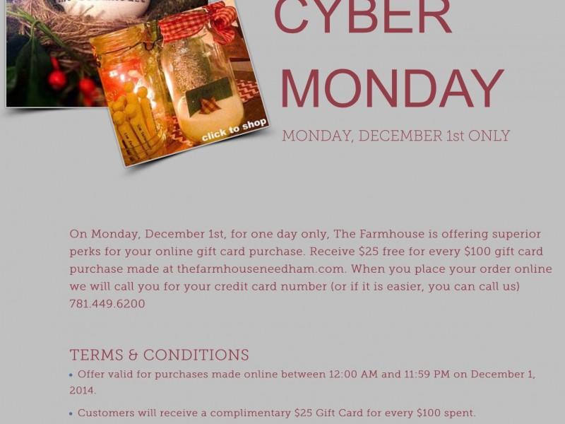 Cyber Monday at The Farmhouse Needham Needham MA Patch