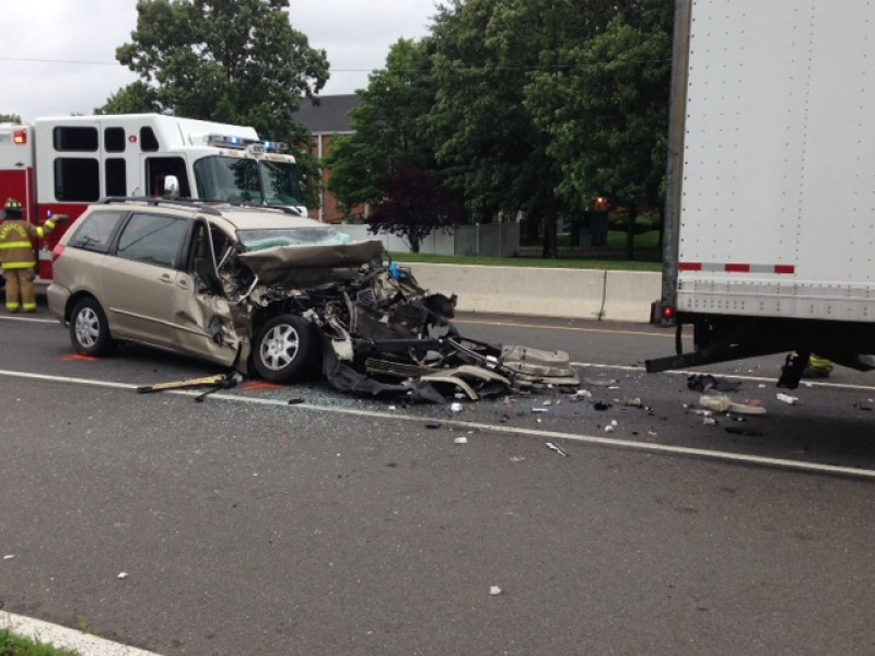 Driver Airlifted After Van Rear Ends Tractor Trailer In
