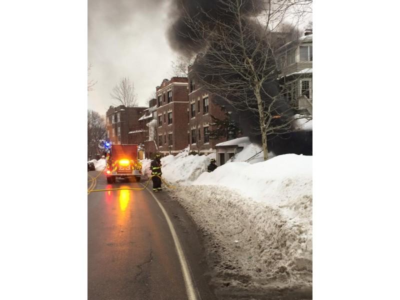 Brookline FD Respond to Fire on Washington Street
