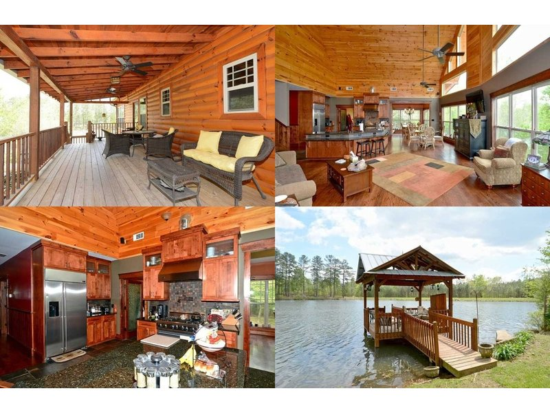 Home spotlight lakeside log cabin with high ceilings for 4 bedroom log cabins for sale