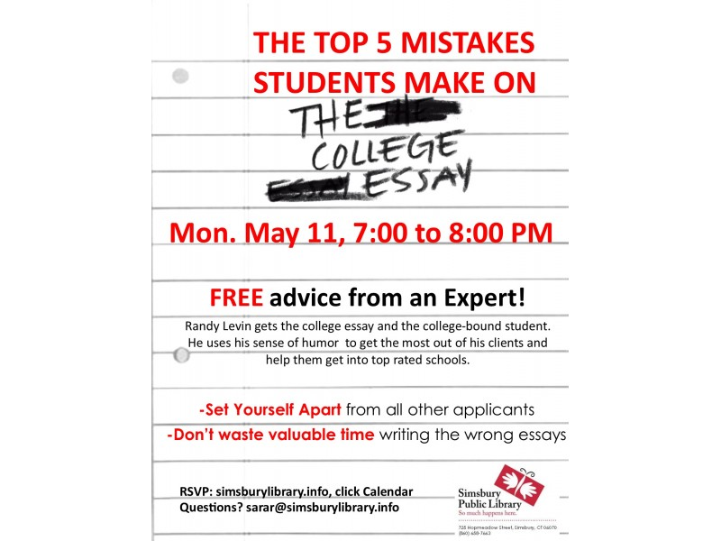 ?top five money mistakes college students make essay Neighbor post top 5 mistakes students make on their college essays teens learn the craft of writing the perfect college essay at west caldwell public library on march 10 at 6:30 pm.
