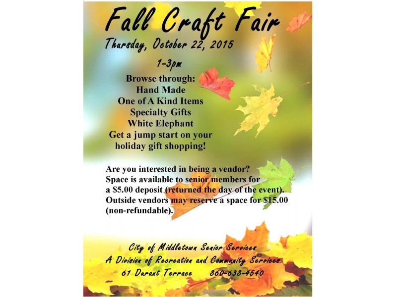 Vendors Wanted For Middletown Fall Craft Fair Middletown