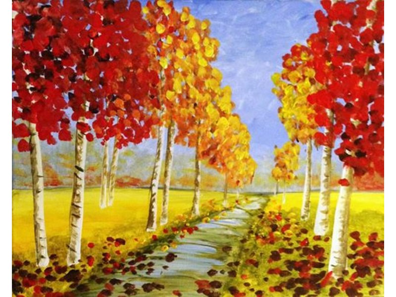 Canvas painting event at ceramics a la carte patch for Fall paintings easy