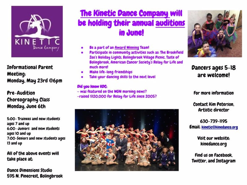 Kinetic Dance Company Holds Open Auditions Bolingbrook