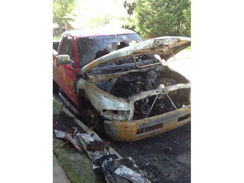 Images: Two of the vehicles gutted in the fires early Saturday in Little Rocky Run (FCFRD).