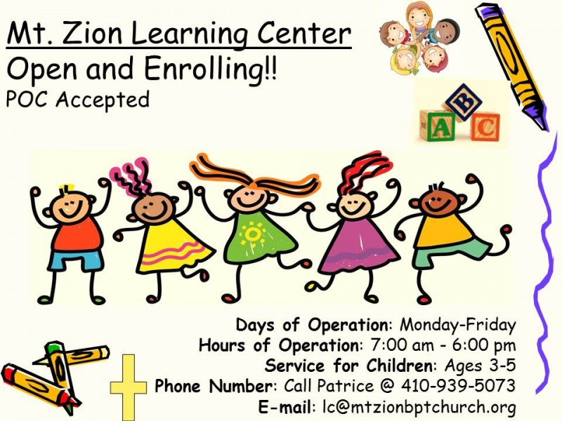 New Daycare Opening Mt Zion Learning Center Havre De