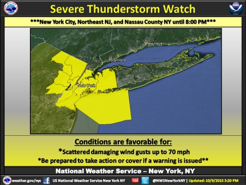 Severe thunderstorm watch issued friday for nyc patch for 70 park terrace east new york ny