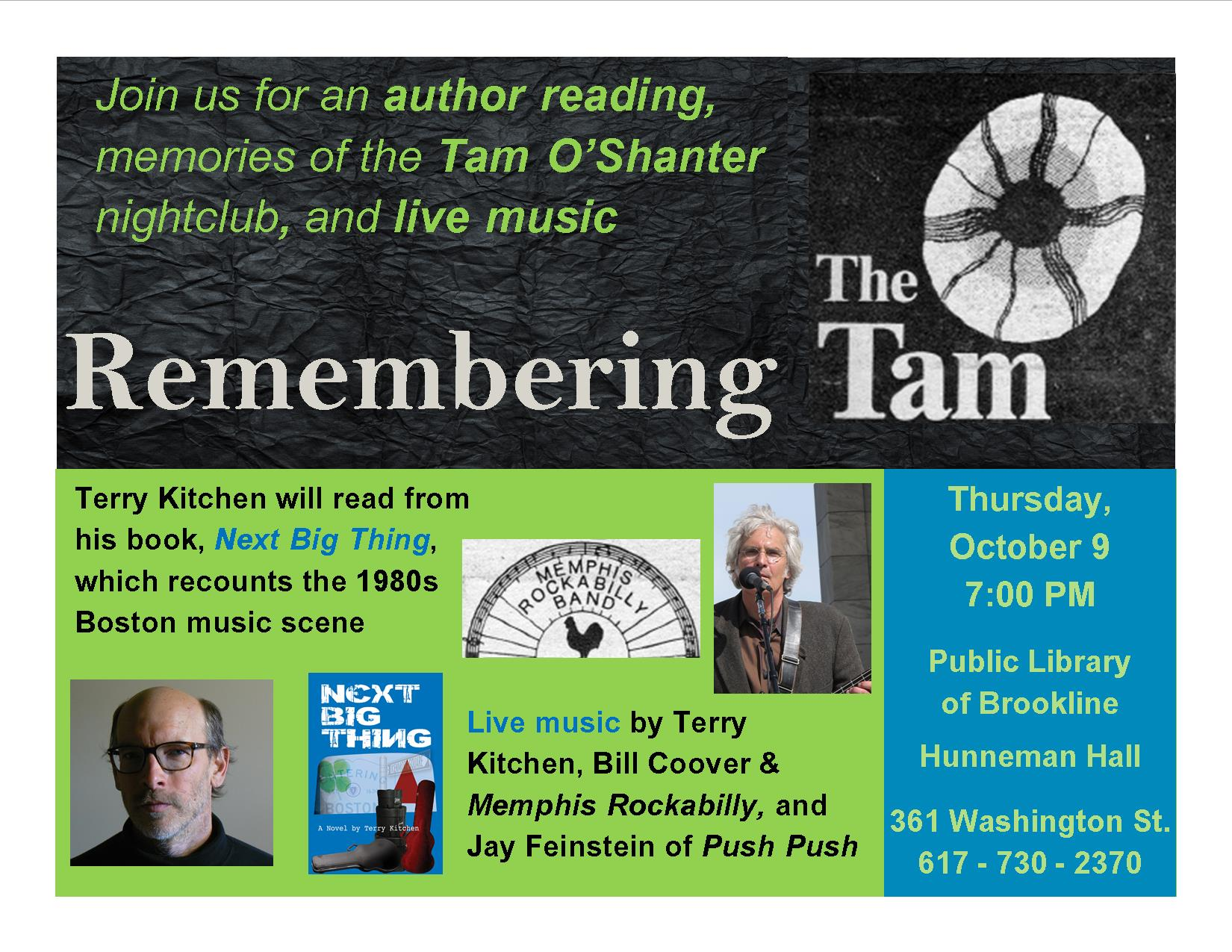 Remembering The Tam! with Terry Kitchen, Jay Feinstein, Memphis Rockabilly Band Oct. 9 at Brookline Public Library