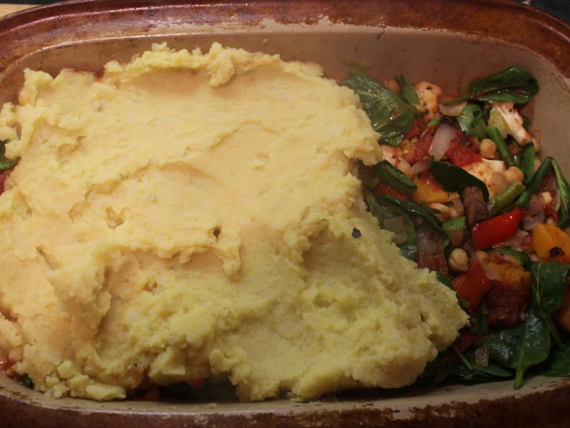 Moroccan Shepherd's Pie (Vegan) With Curried Mashed Potato Crust