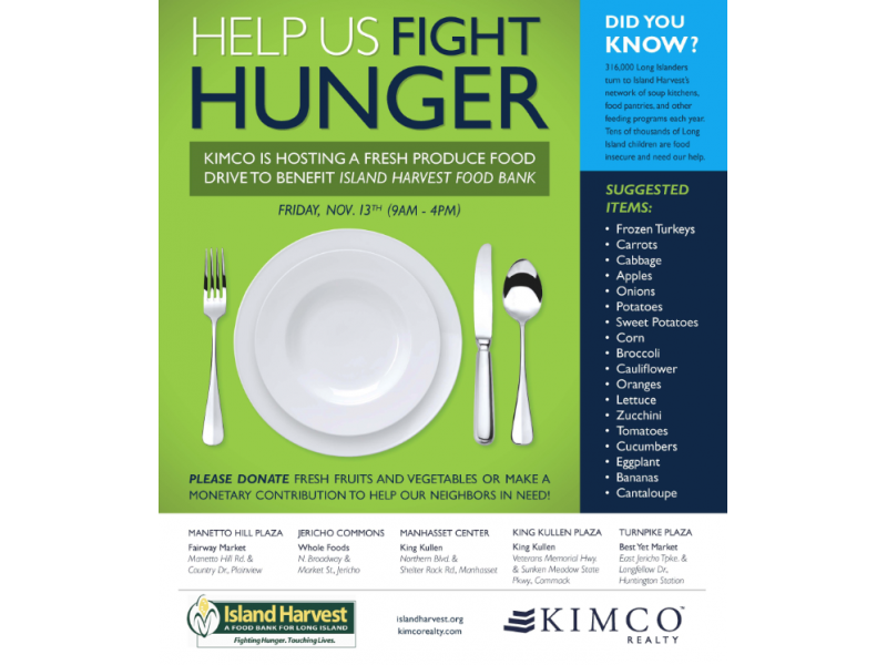 Kimco Realty Hosts Island Harvest Food Drive On Friday