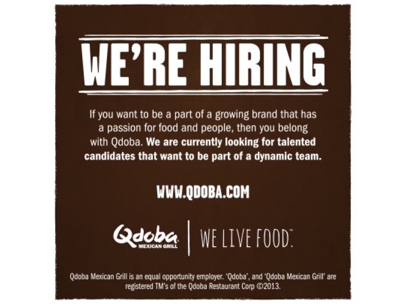 Government Open For Business >> Qdoba- Hiring Friendly, Outgoing Line Servers - Cherry Hill, NJ Patch