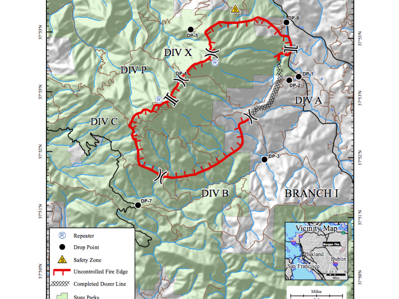 Cal Fire Map Shows Earth Scorched by Mount Diablo Fire Concord CA Patch