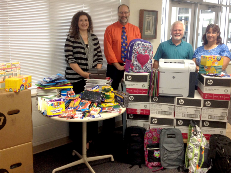giving back roseville business donates school supplies