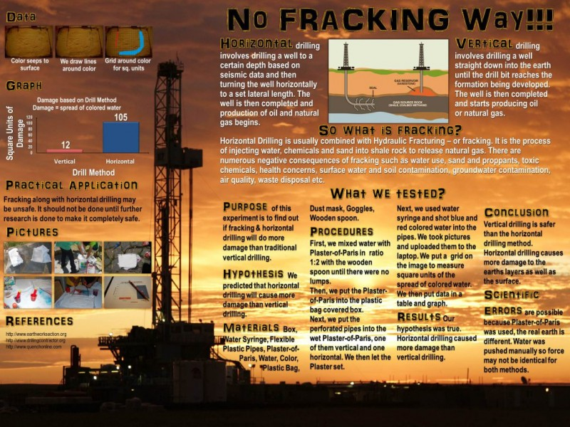 fracking project Hydraulic fracturing (also fracking, fraccing, frac'ing in 1976, the united states government started the eastern gas shales project.
