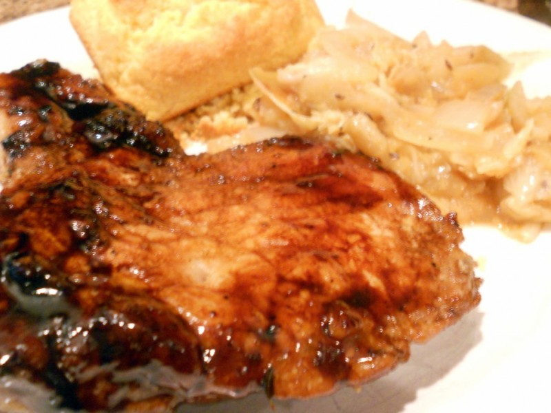 Pan Roasted Pork Chops with Braised Cabbage, Apple and Onion ...
