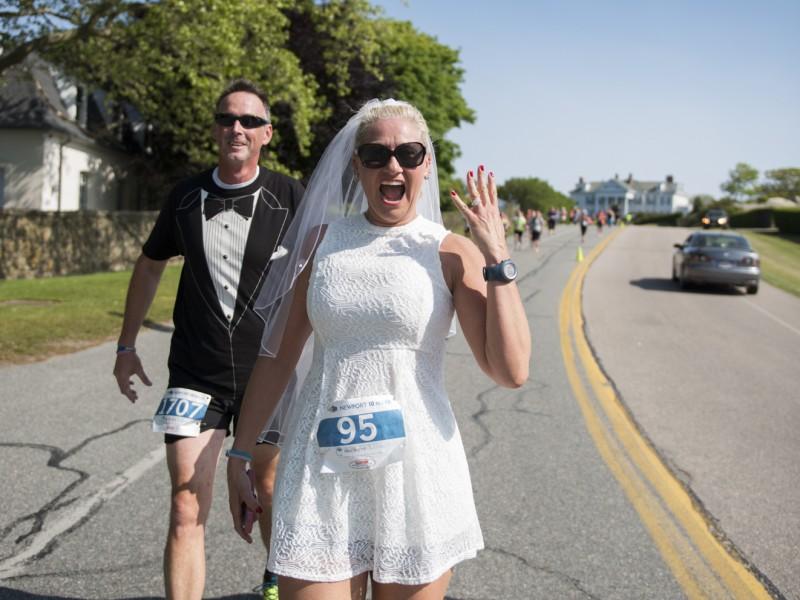 RI Woman Runs Newport 10-Miler on Wedding Day - In Her Wedding Dress