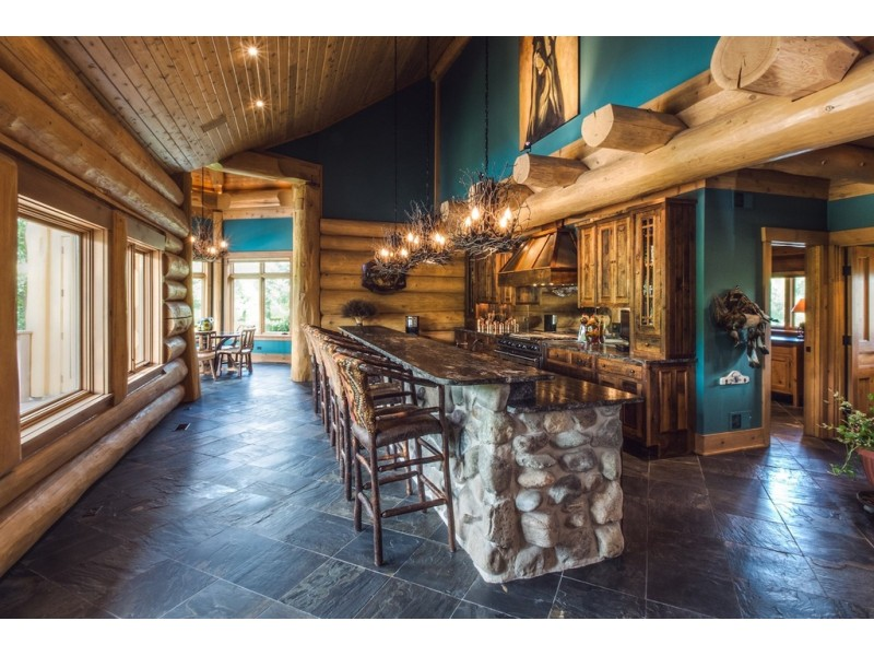 Custom Built Log Cabin Includes Theater Room Pool