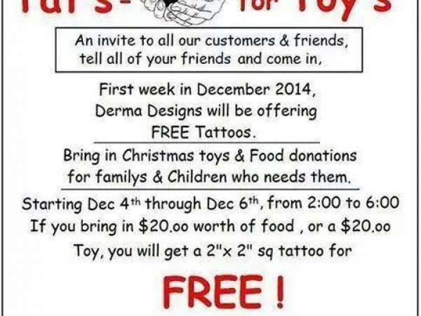 want a free tattoo donate some food toys concord nh patch. Black Bedroom Furniture Sets. Home Design Ideas