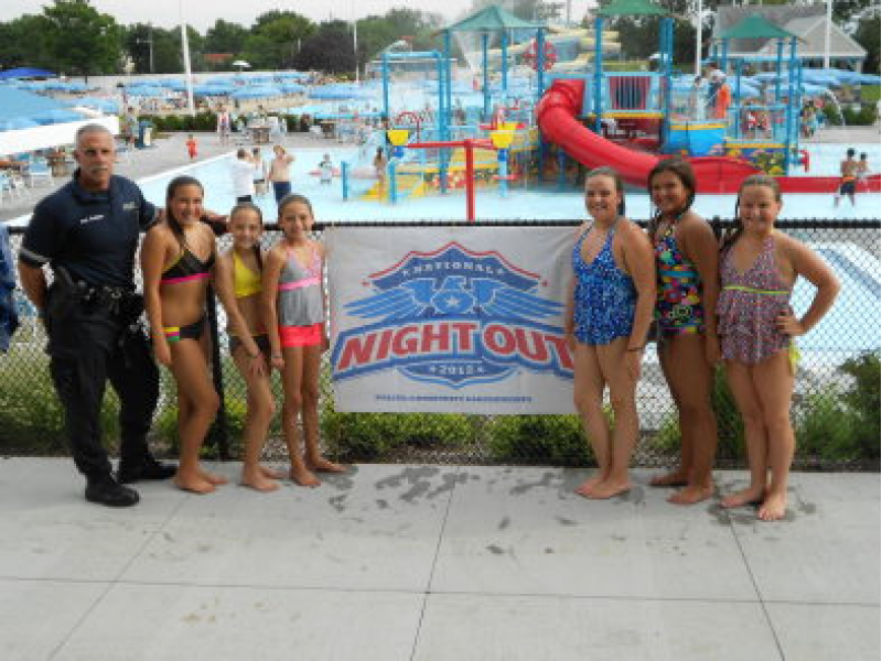 National night out at the gc pool patch for Garden city pool ny