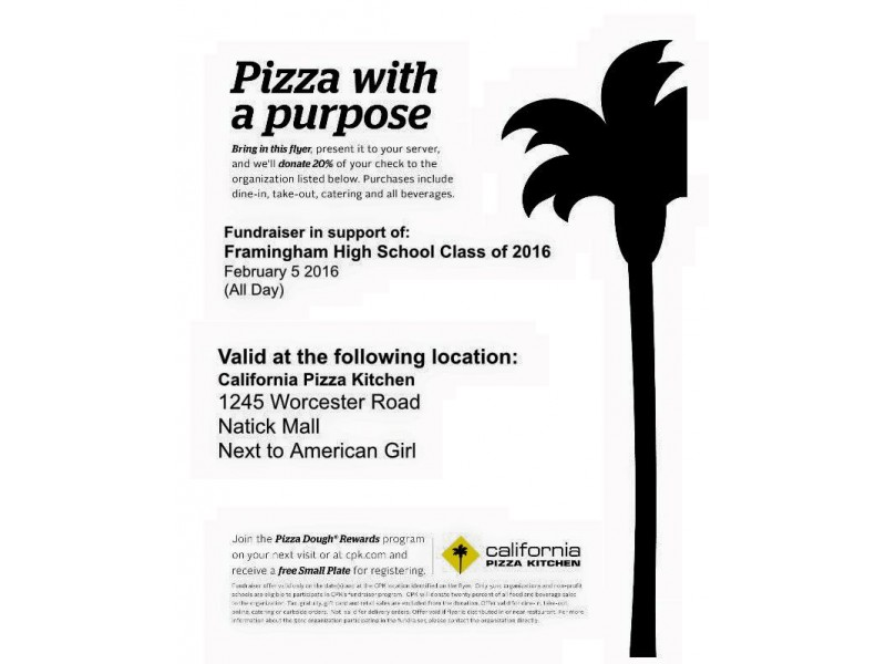 Class of 2016 Fundraiser at California Pizza Kitchen Friday