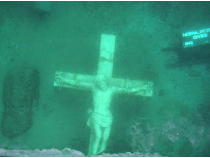 See Giant Marble Crucifix Sunk As Memorial To Lake