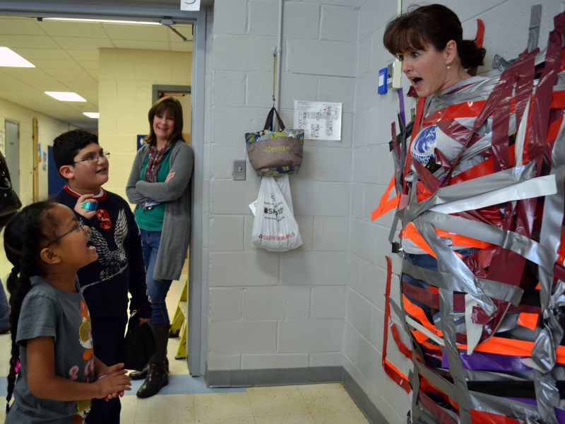 Sticky Situation Puffer Students Pay To Tape Teacher To