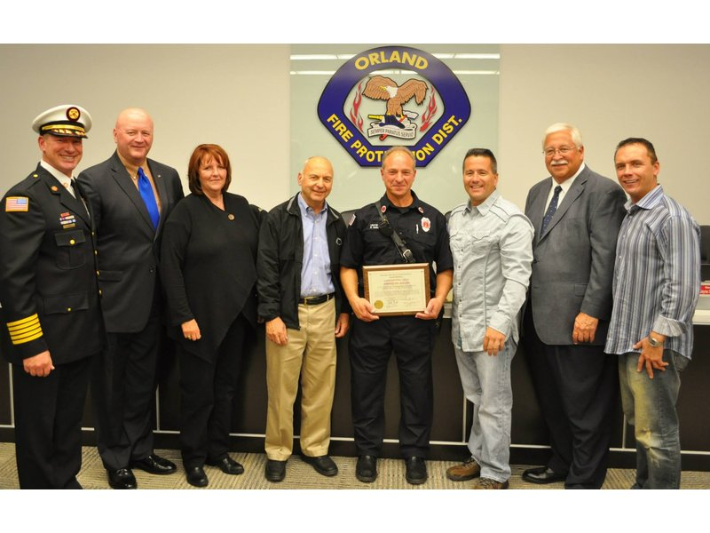 orland firefighter honored for saving woman u0026 39 s life