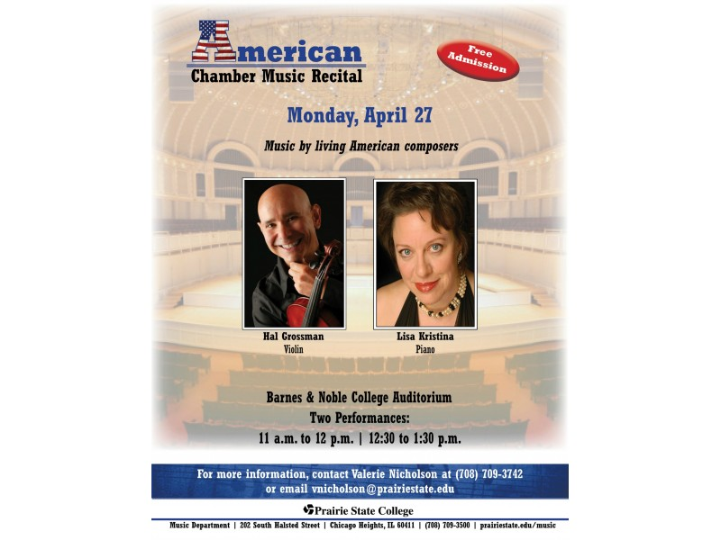 Prairies State College Library American Chamber Music Recital Being Held at Prairie State College April 27