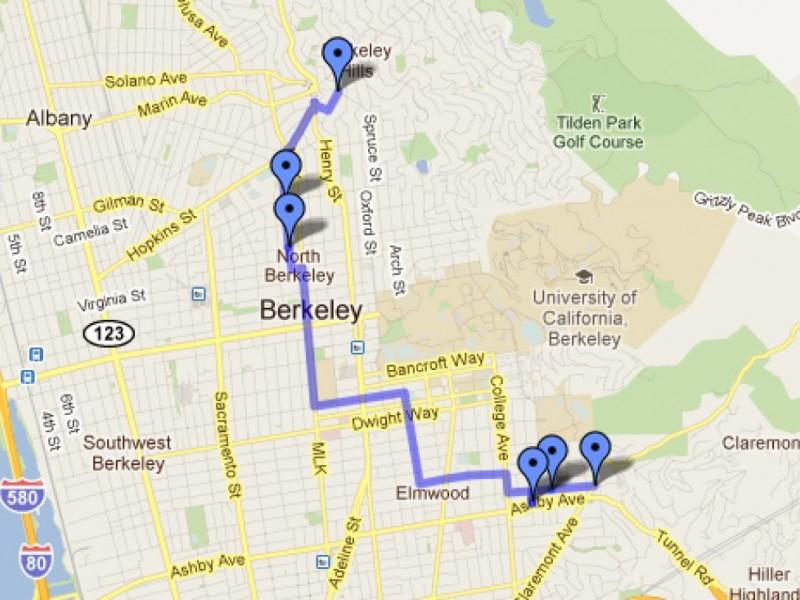 Map TrickorTreating Route In Berkeley Berkeley CA Patch - Berkeley on us map