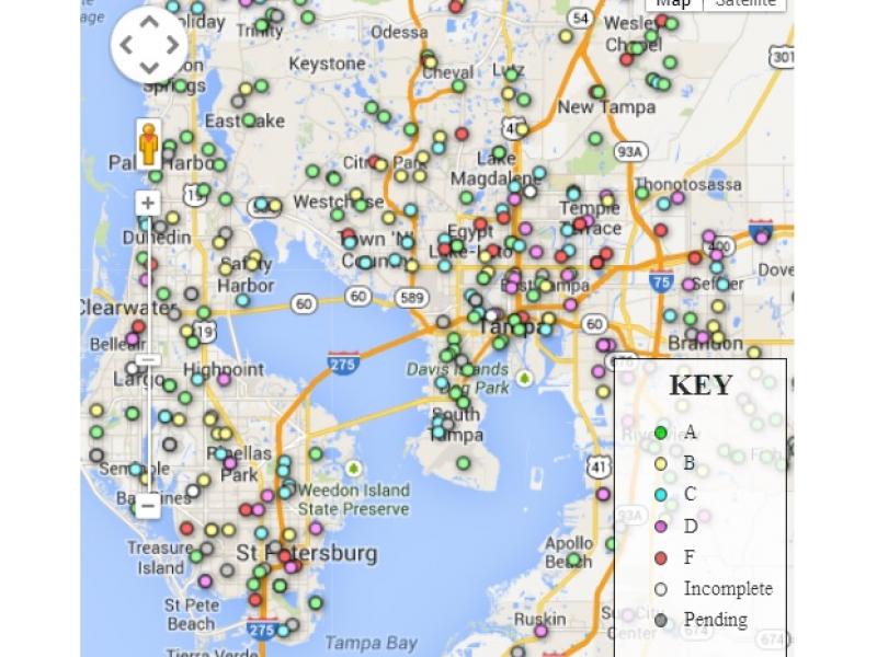 Map How School Grades Compare Across Hillsborough County - Hillsborough county map