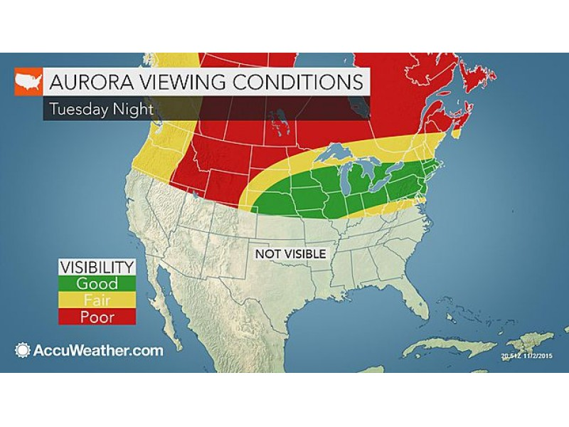 Another Chance Of Northern Lights In Pa Tuesday Forecasters Say - Us lights map