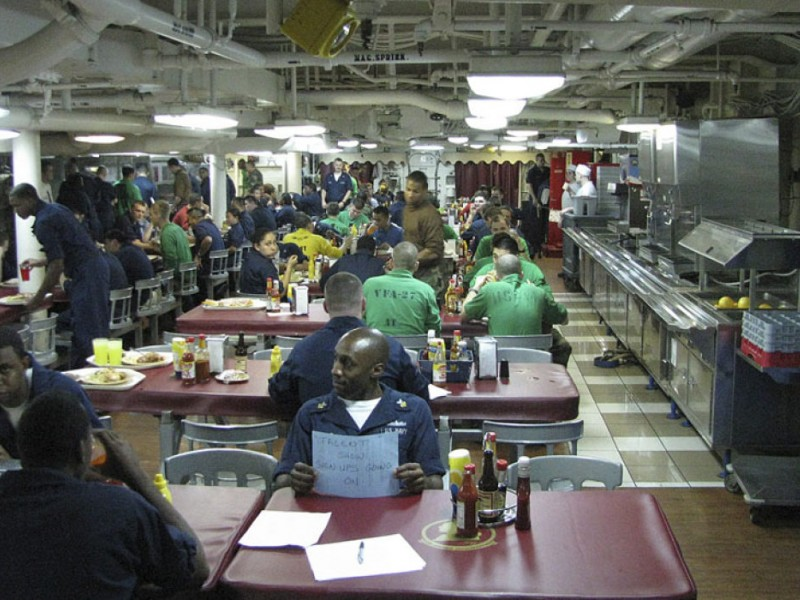 Navy tales life and food aboard an aircraft carrier part for Missouri s t dining hall hours