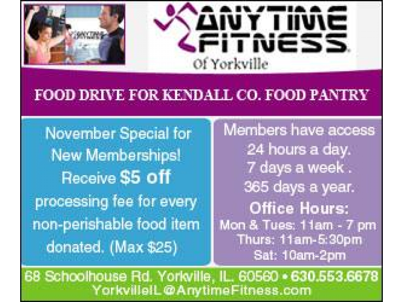 Food Drive At Anytime Fitness of Yorkville Yorkville IL Patch