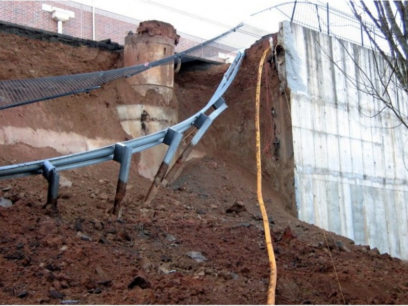 Retaining Wall Collapses Behind Home Depot 0